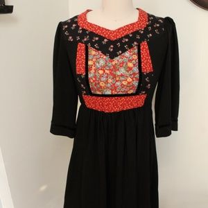 1970's Joseph Ribkoff Dress With Quilted Bodice